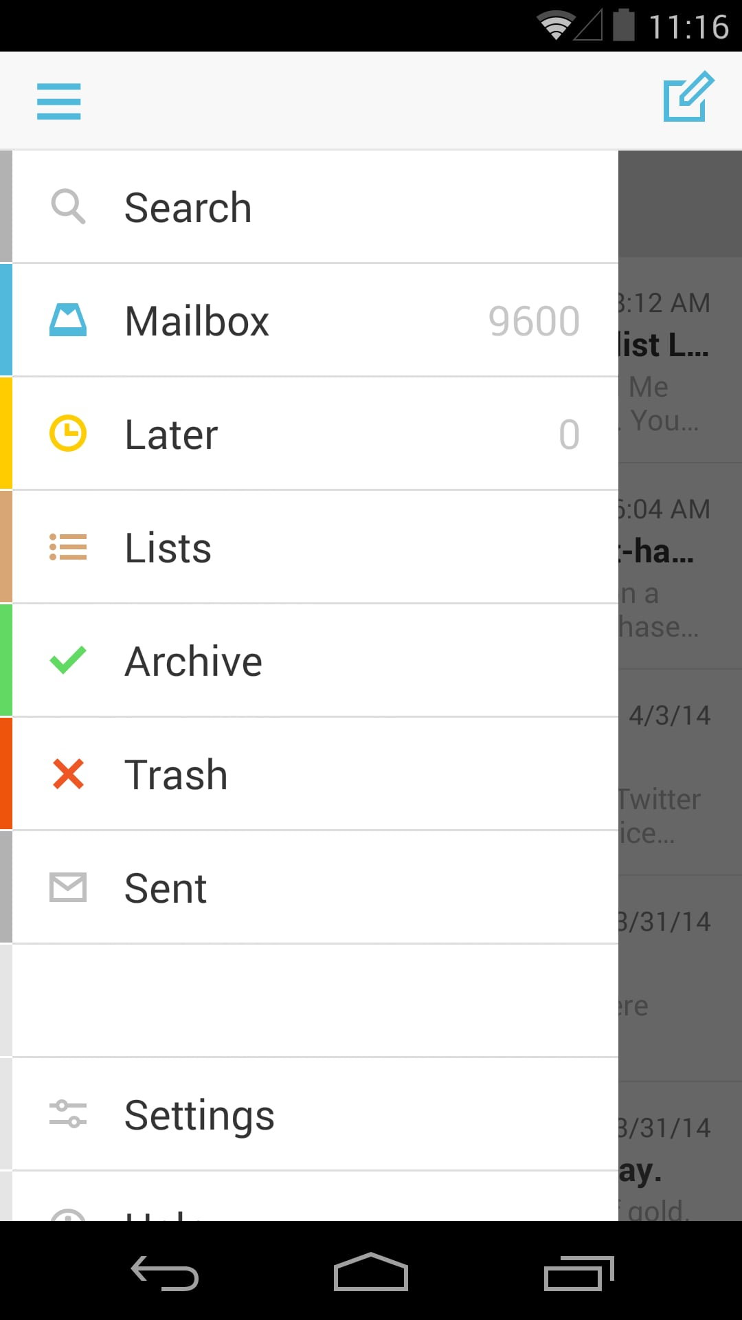 Mailbox for Android — Menu Drawer