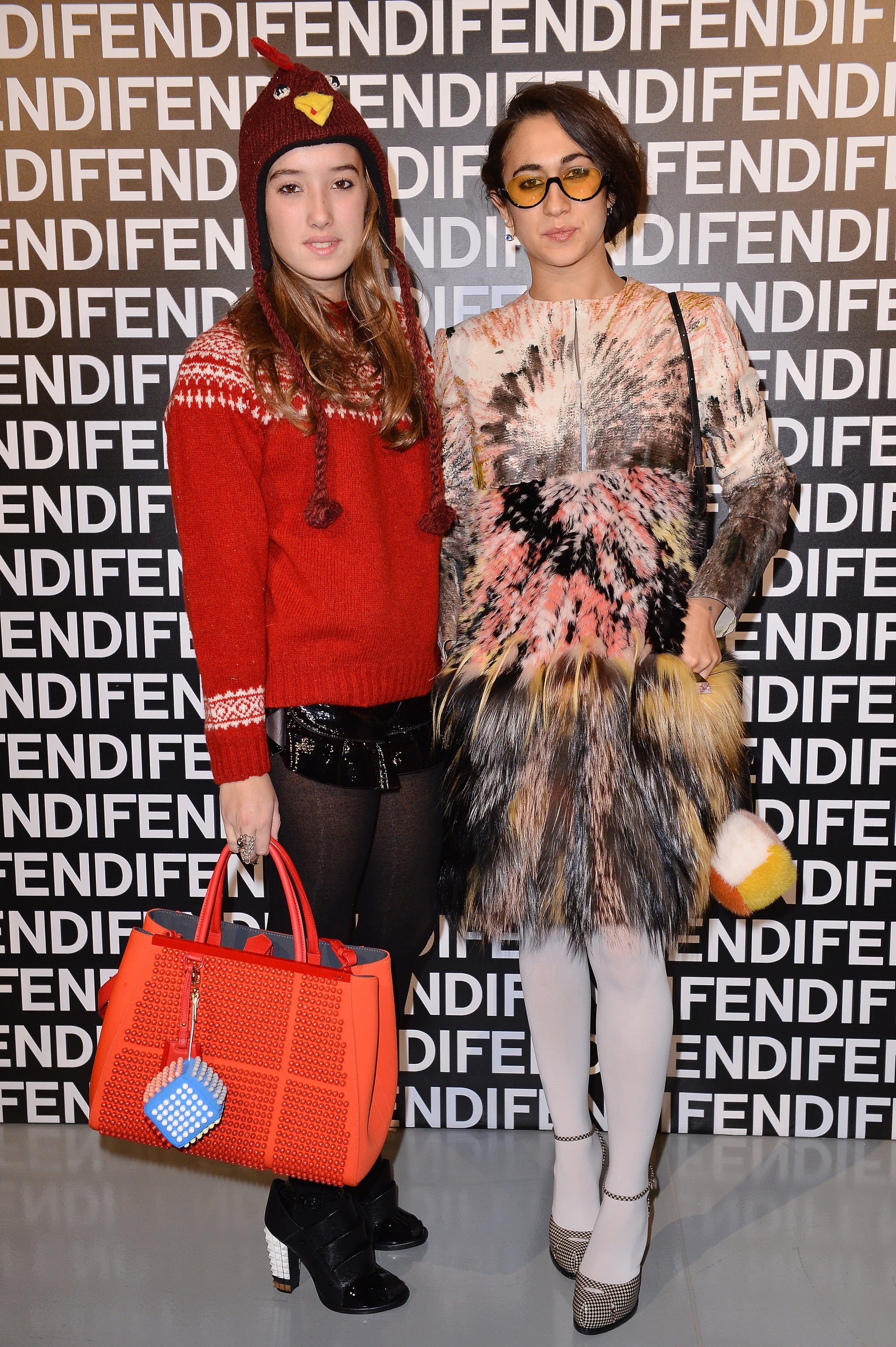 Delfina Delettrez and Leonetta Fendi at the Fendi Fall 2013 show in Milan.