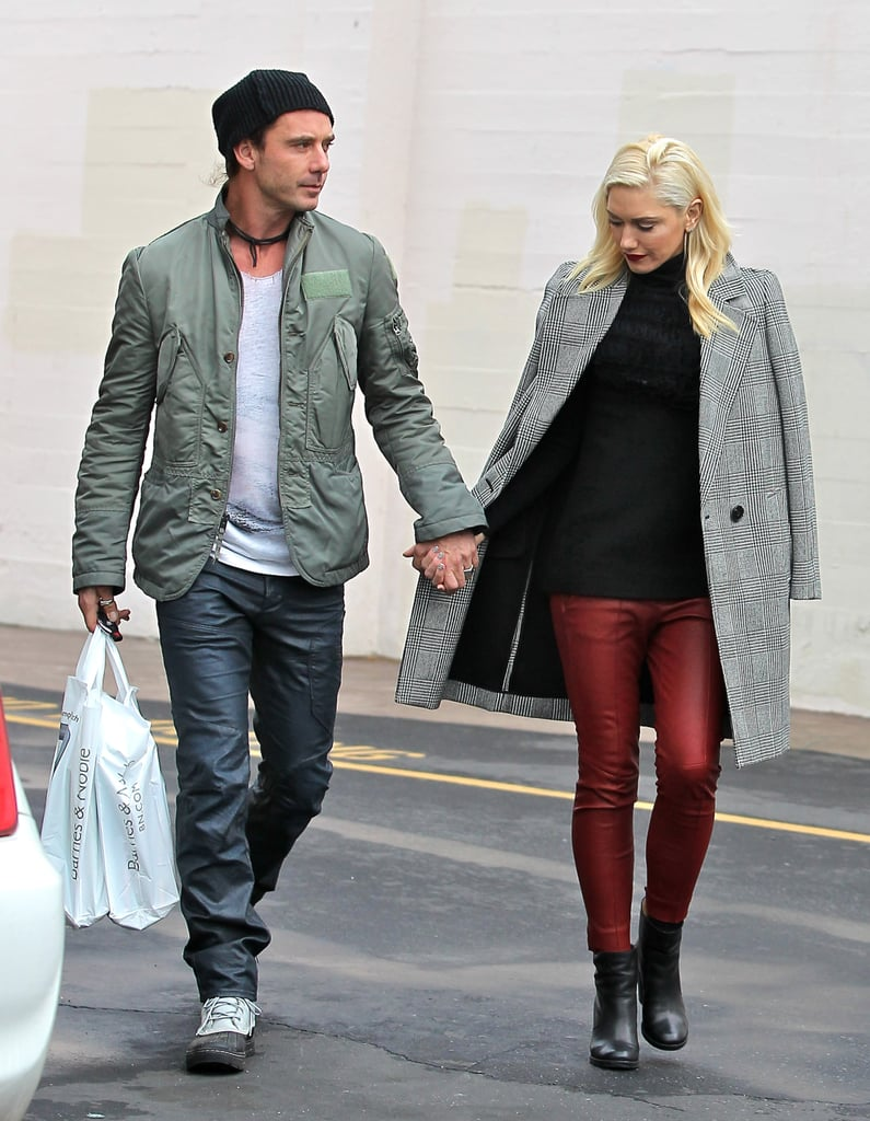 Gwen Stefani wore red leather pants.