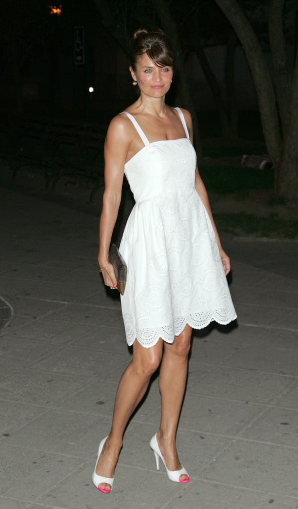 Helena Christensen looked darling in a white Marc Jacobs dress with pink cap-toe heels at the Vanity Fair Party.