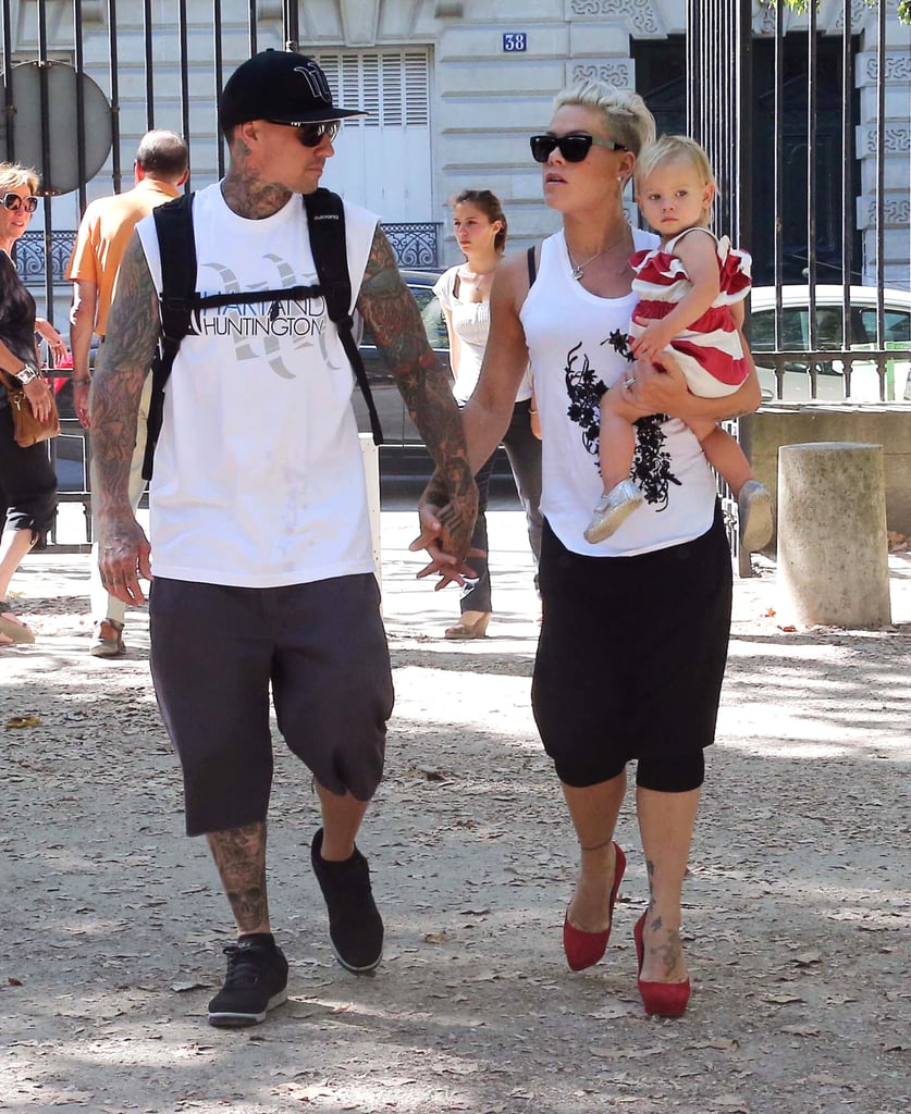 Pink carried her daughter, Willow, during a family vacation with Carey Hart in Paris.