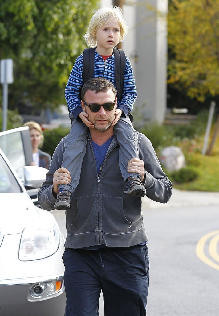 Liev Schreiber walked with son Sasha in LA.