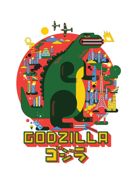 Katboy7's comical take on Godzilla ($19-$50 for various sizes) adds a bit of color to the kaiju universe.
