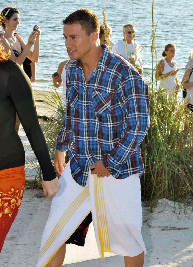 Channing Tatum dried off with a towel after filming scenes for Magic Mike.