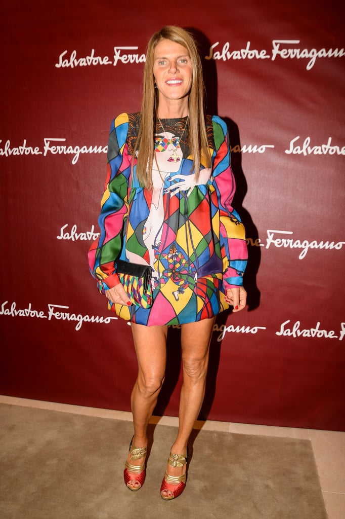 Anna Dello Russo came out in colors for Salvatore Ferragamo's Milan flagship opening.