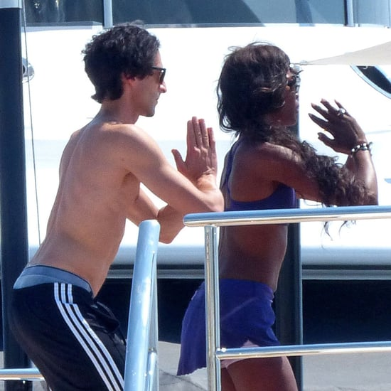 Adrien Brody and Naomi Campbell Doing Yoga on a Boat
