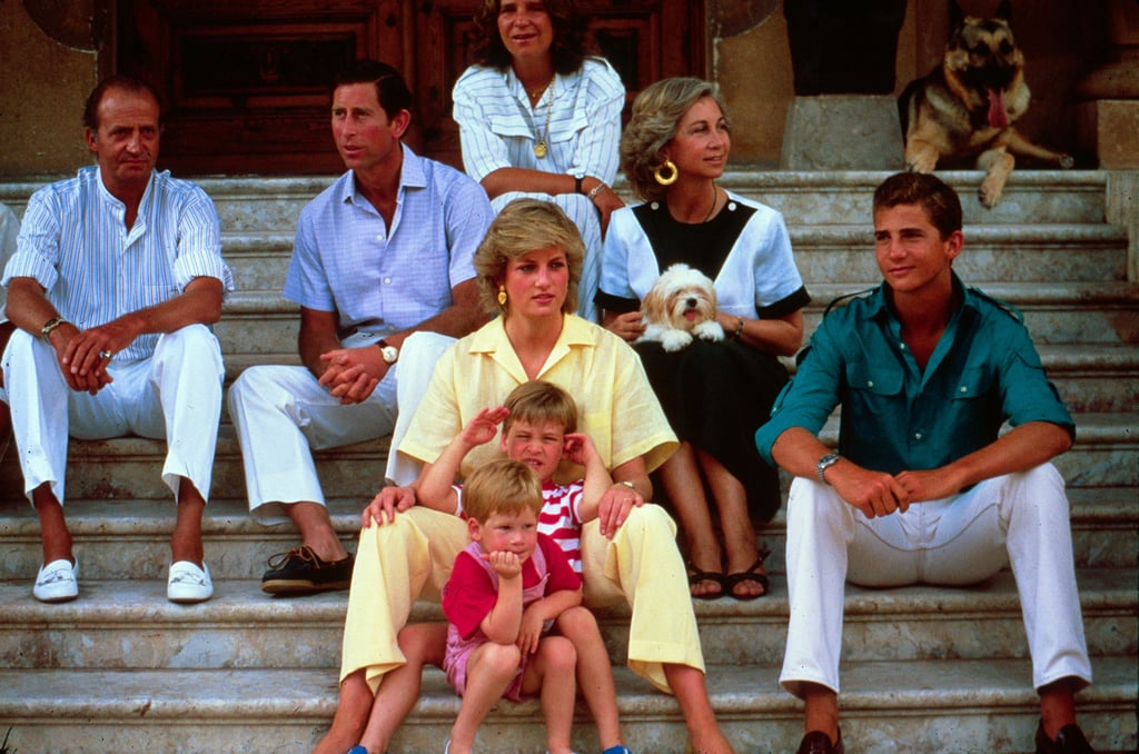 Princess Diana and Prince Charles brought Prince William and Prince Harry along on vacation to Majorca, Spain, in August 1987 to visit with the Spanish royal family.