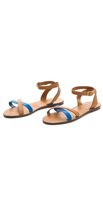 These sandals get a fresh pop of color via an electric blue strap.  Madewell Jasper Flat Sandals ($60)