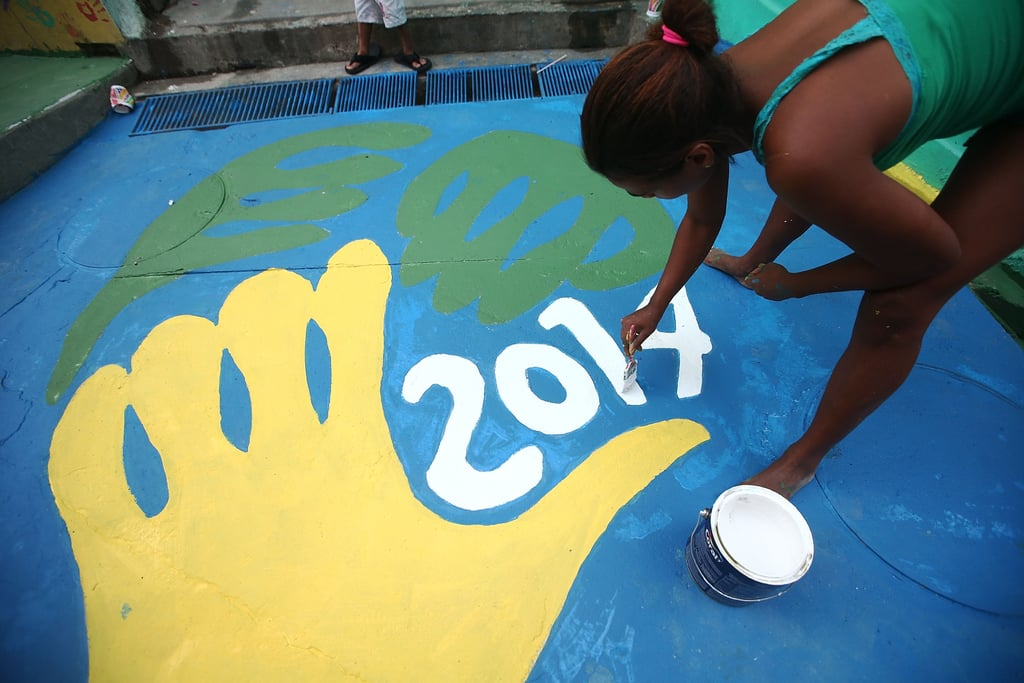 Locals in Rio de Janeiro painted a section of Santa Marta.