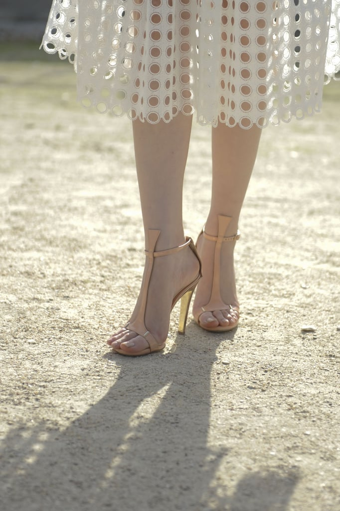 A soft pair of pastel heels were the perfect complement to a delicate sheer skirt.