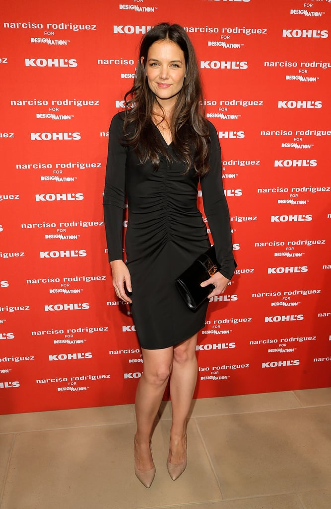 Katie Holmes wore a sexy tight black dress in NYC.