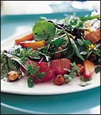 Outdoor Salad Side: Summer Greens and Herbs with Roasted Beets and Hazelnuts