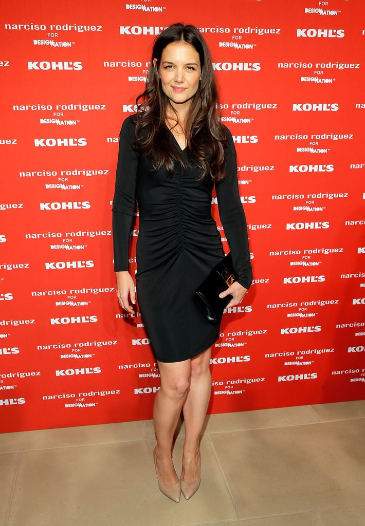 Katie Holmes had a smile on her face to step out for Narciso Rodriguez's Kohl's collection launch party in NYC.