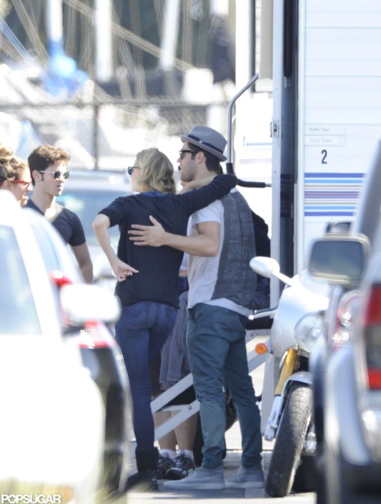 Joshua Bowman and Emily VanCamp were on the set of Revenge together in LA.