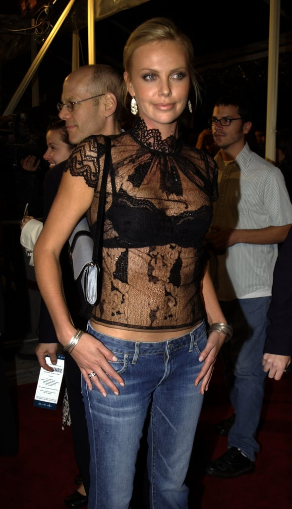 Charlize Theron donned a sheer shirt to the October 2002 The Truth About Charlie premiere in LA.