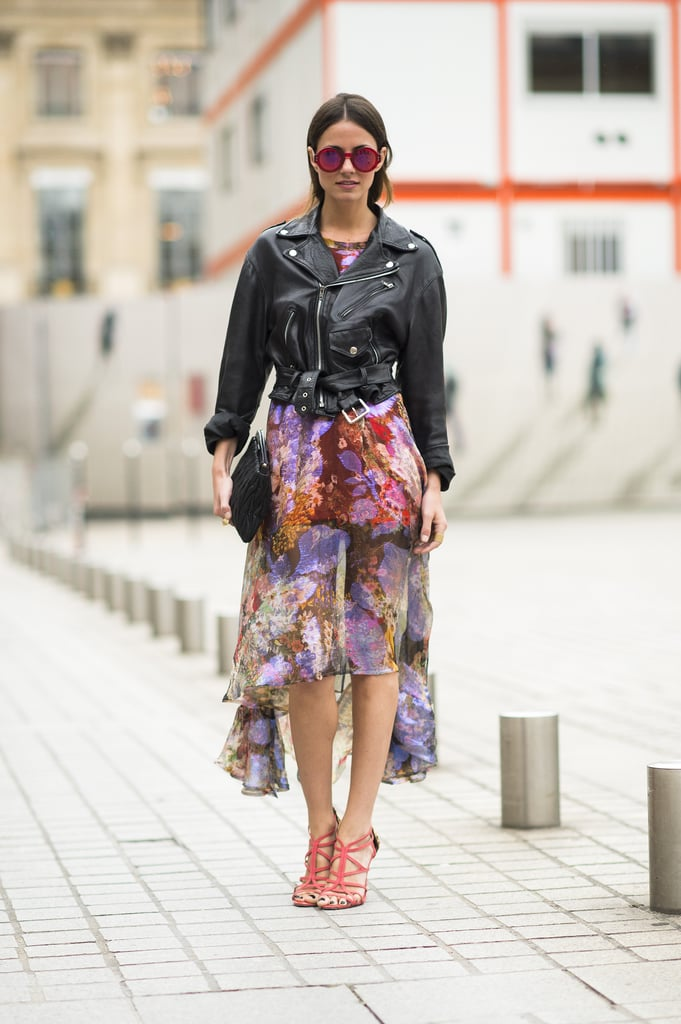 We'd make this our look any day of the week — just add a little tough-girl touch to a peekaboo skirt to achieve the same cool-girl effect. Source: Le 21ème | Adam Katz Sinding