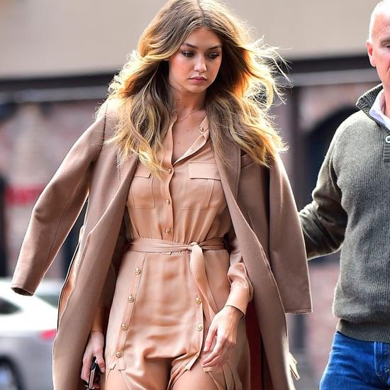 Gigi Hadid Wearing Silk Dress Street Style