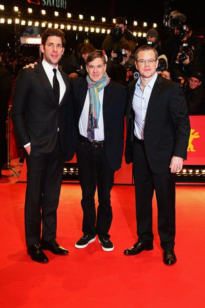 John Krasinski, Matt Damon, and Gus Van Sant posed on the red carpet at the premiere of Promised Land at the Berlin Film Festival on Friday.