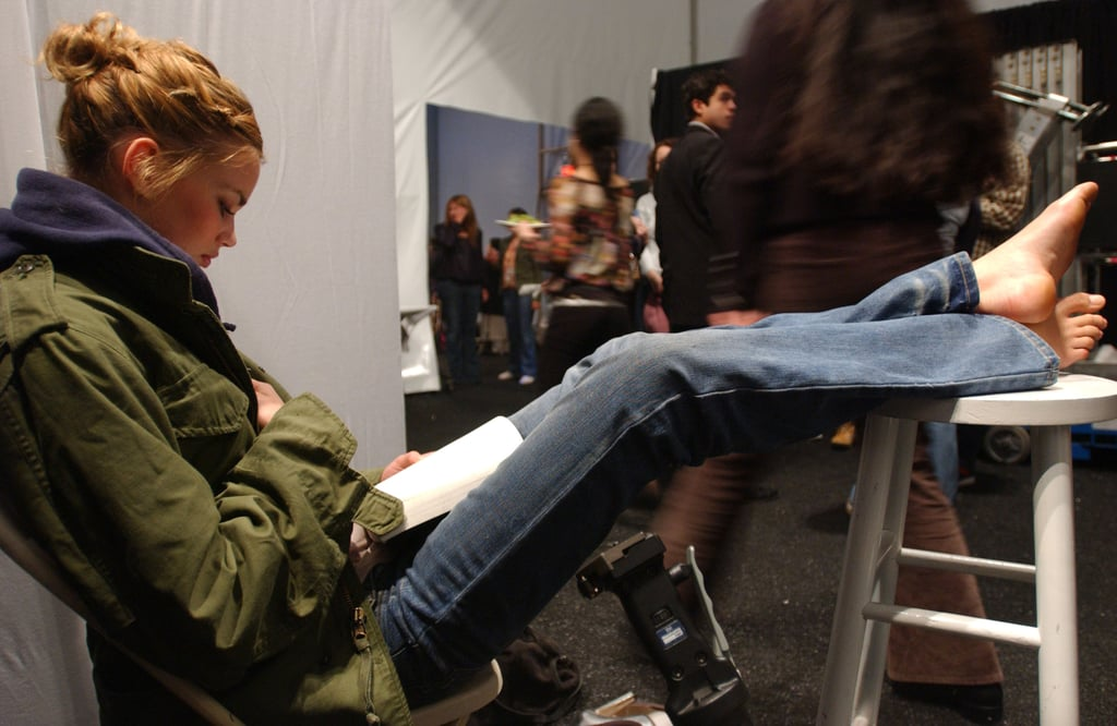 Backstage at Cynthia Rowley's Fall 2005 show, a long-legged beauty made herself comfy.
