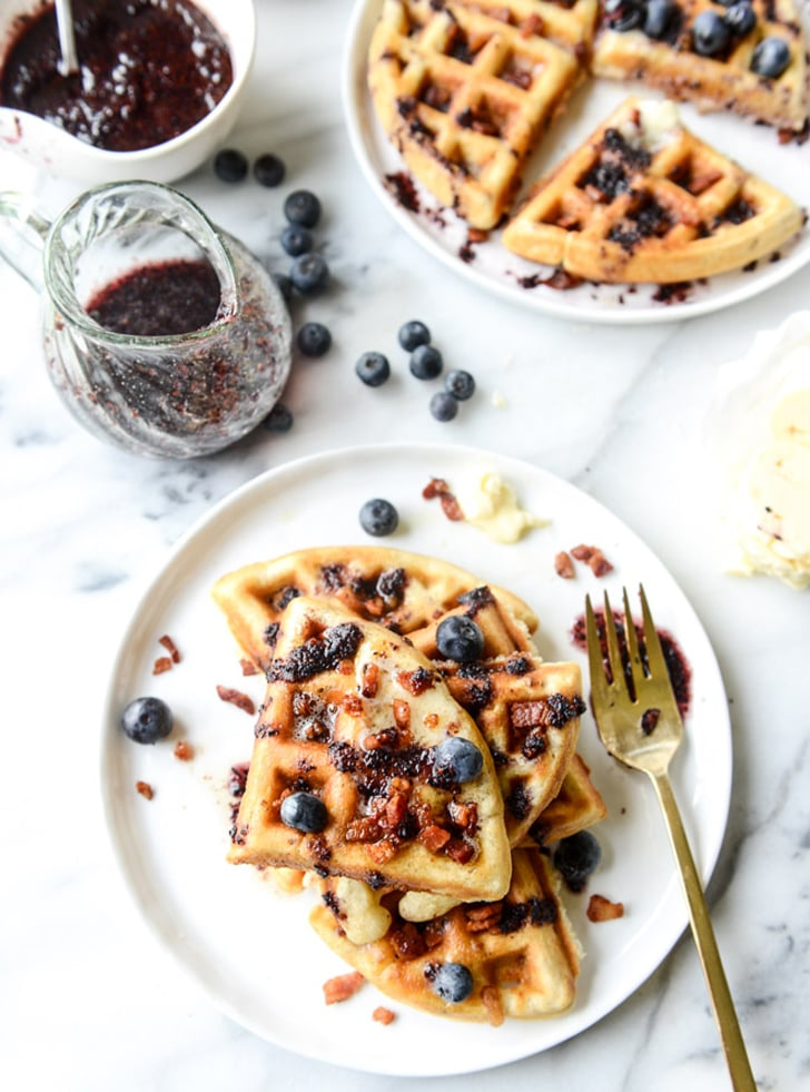 Bacon Waffles With Bourbon Butter and Blueberry Syrup