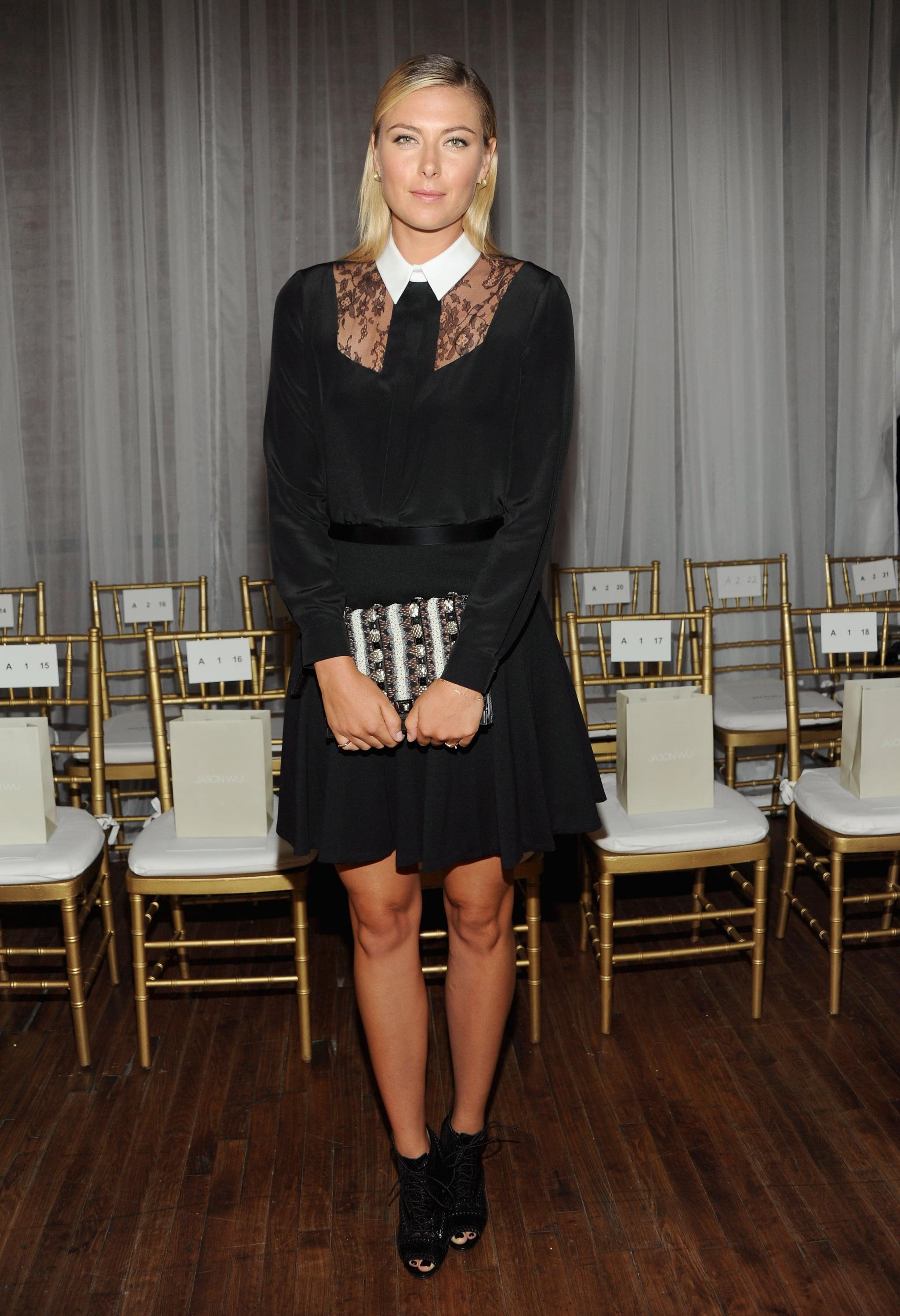 Maria Sharapova wore a head-to-toe Jason Wu look for the designer's show on Friday.