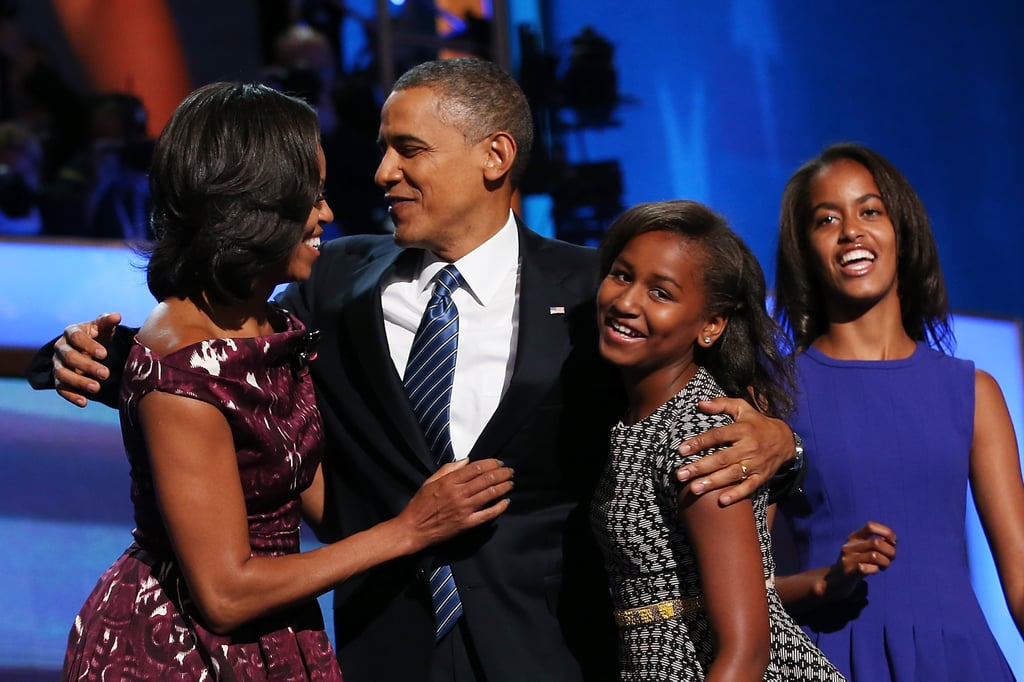 Michelle and Barack shared a sweet moment with their family after the president accepted his party's nomination for reelection.