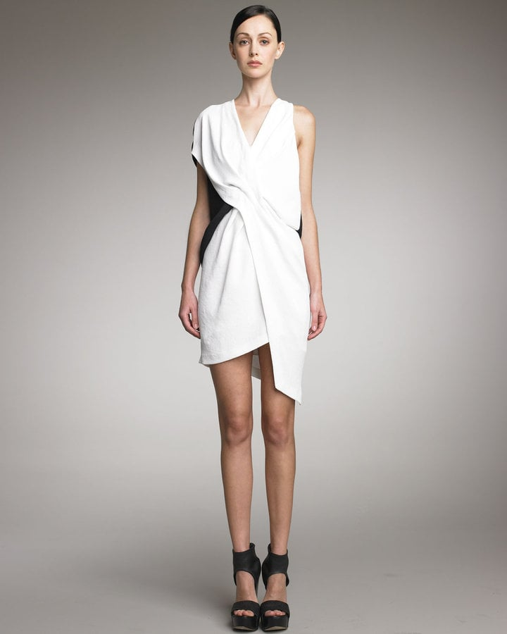 Dying to go a little avant-garde for your rehearsal? We love this drapey, asymmetrical frock for day or night.  Helmut Lang Sugar Tuck Dress ($520)