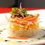 Quinoa, Avocado, and Sweet Potato Timbale With Roasted Tomatillo Dressing