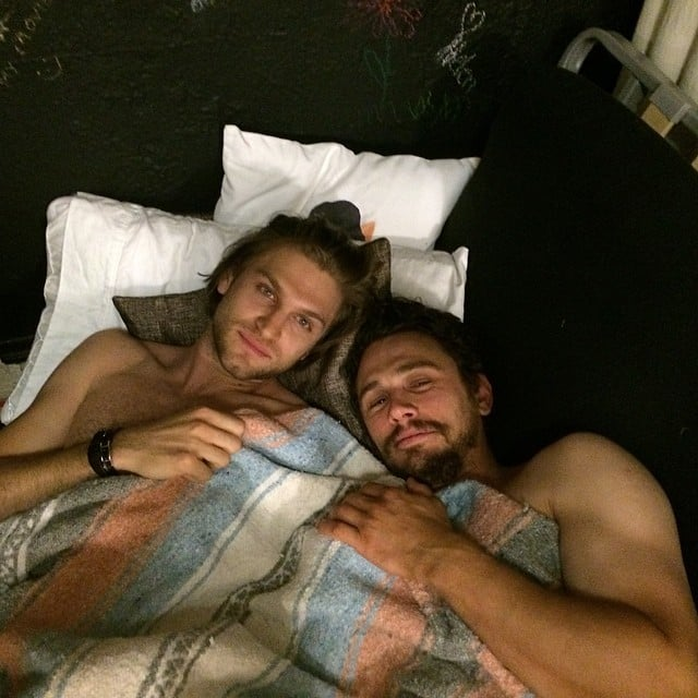 James Franco took a shirtless selfie from bed with Pretty Little Liars' Keegan Allen. Source: Instagram user jamesfrancotv