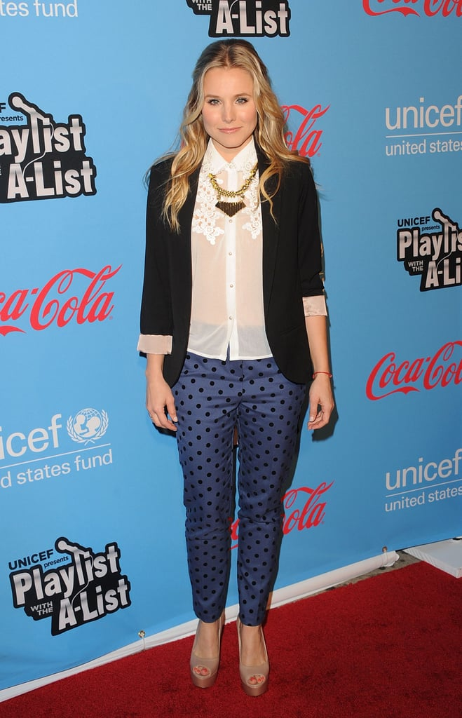 Kristen Bell made a case not only for polka dots, but for printed pants as well. The actress sported these navy and black Topshop trousers with a floaty white blouse and black blazer, giving us a fair amount of stylish office inspiration.