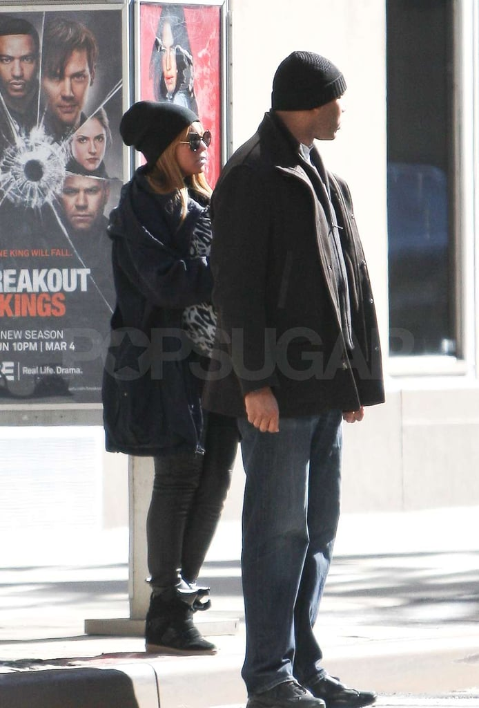 Beyoncé Knowles and Blue Ivy Carter waited to cross the street.