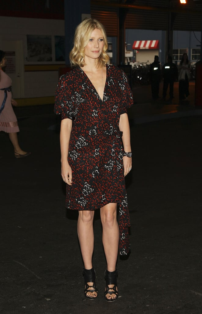 Gwyneth paired a printed wrap dress with cutout leather sandals at the Can-Do Awards in NYC.