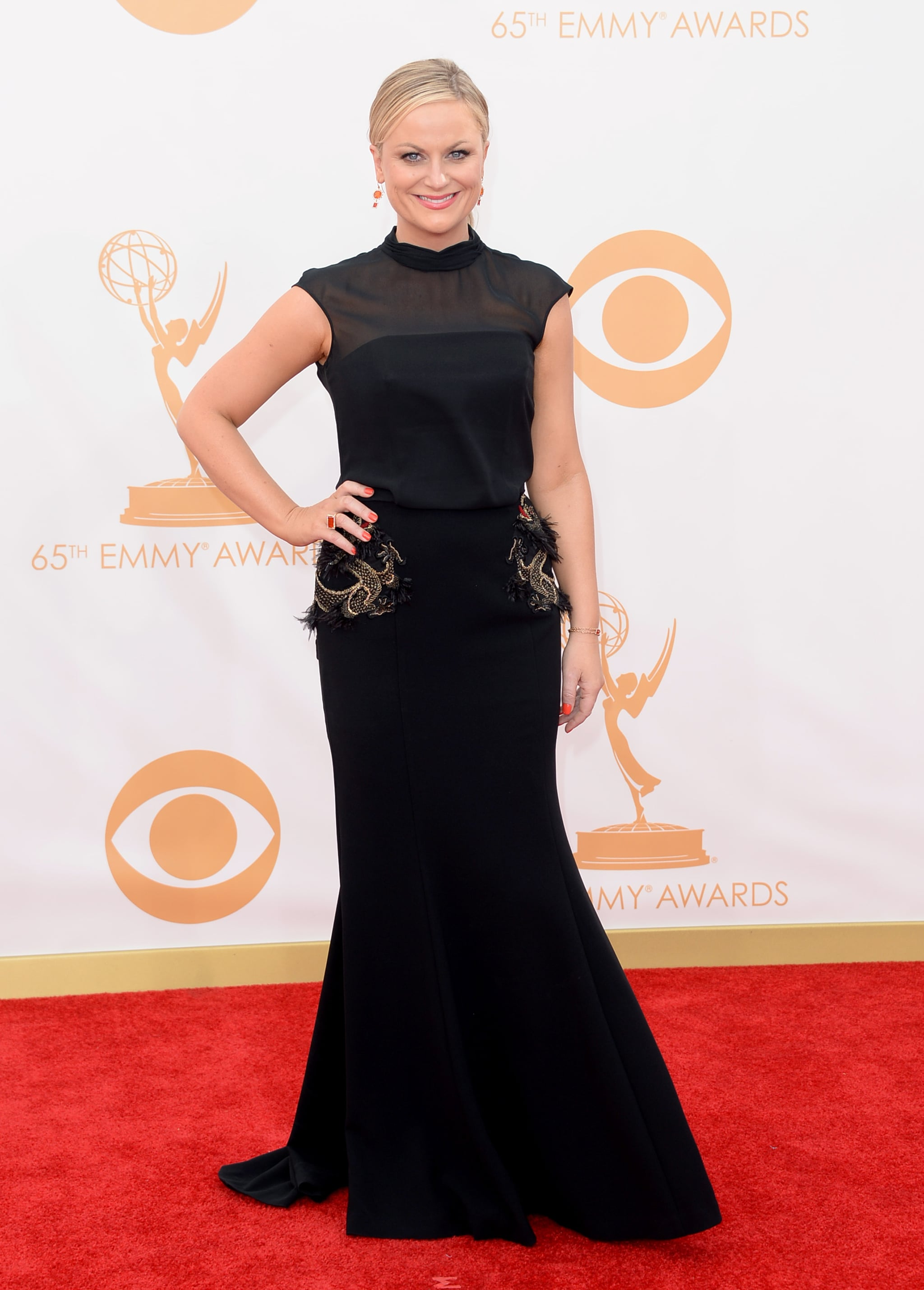 Amy Poehler's embellished-pocket Basler dress was a fancy cousin of the LBD — those Irene Neuwirth jewels were equally glam.