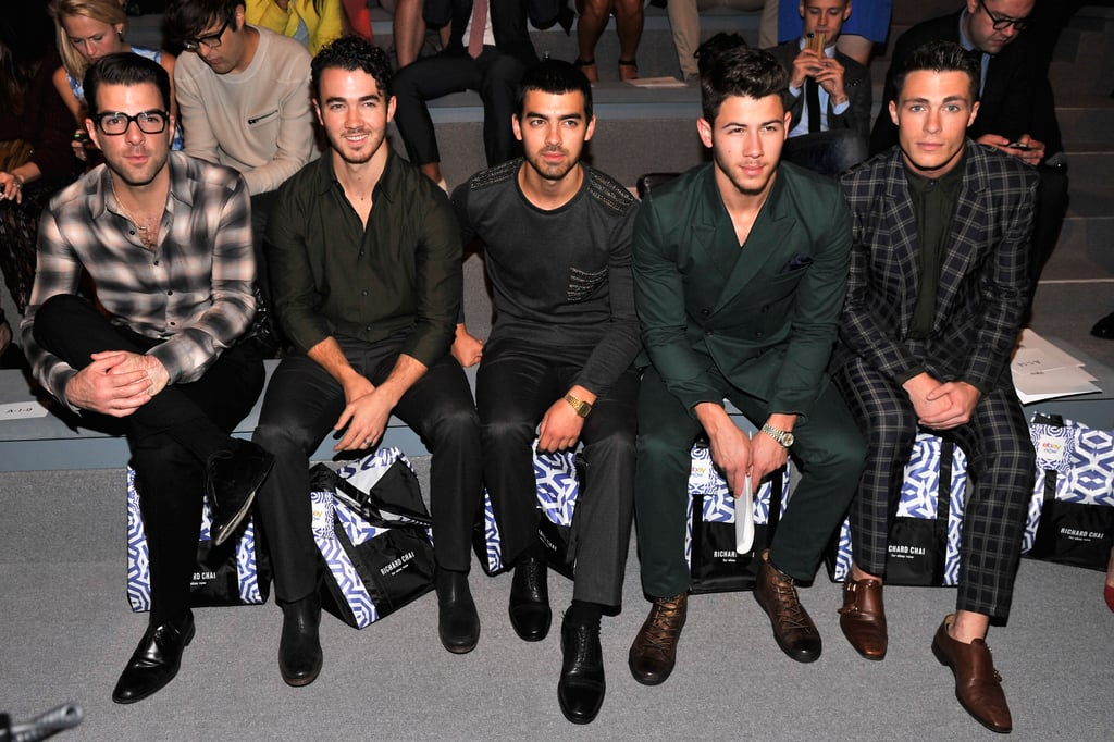 Kevin, Joe, and Nick Jonas were flanked by Zachary Quinto and Colton Haynes in the front row at Richard Chai's show on Thursday.