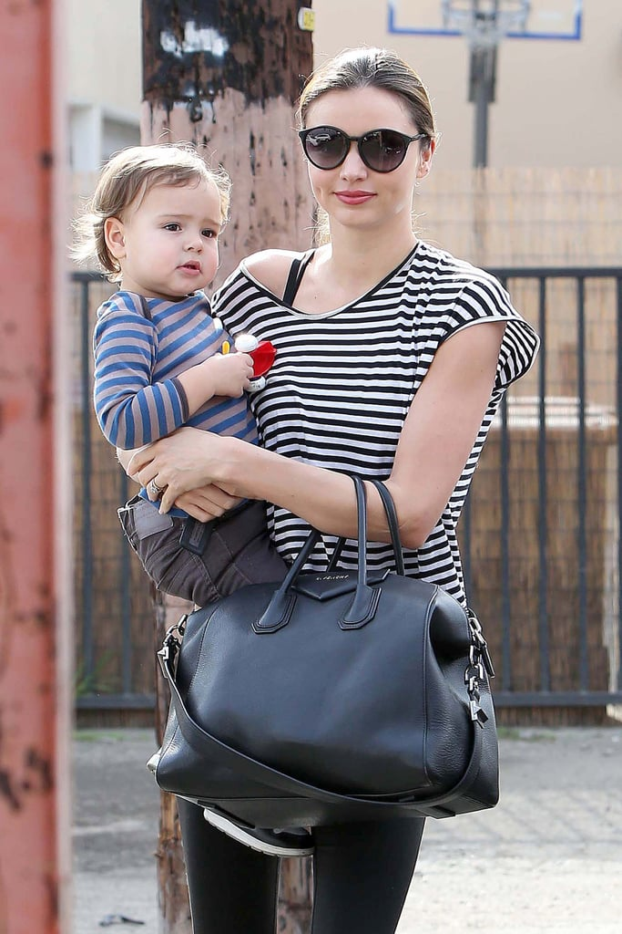 Miranda Kerr and Flynn Match in Stripes For a Morning of Ballet