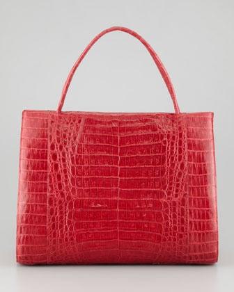 Nancy Gonzalez Double-Handle Framed Croc Tote Bag, Red