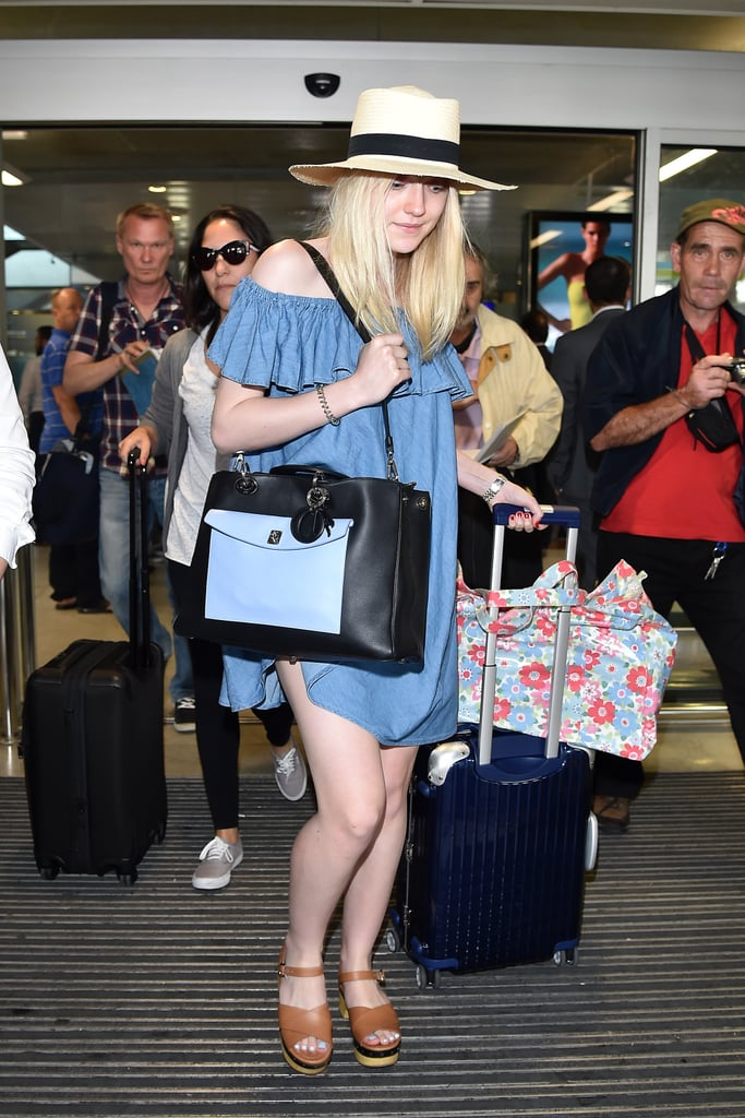 Dakota Fanning's off-the-shoulder dress was the best of both worlds: comfy enough for a flight and stylish enough for the street!