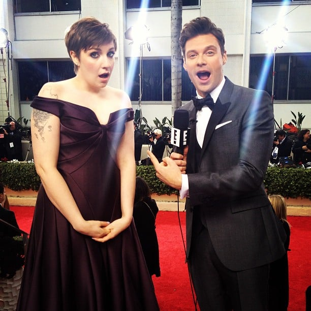 Lena Dunham and Ryan Seacrest were surprised to see each other on the Globes carpet. Source: Instagram user ryanseacrest