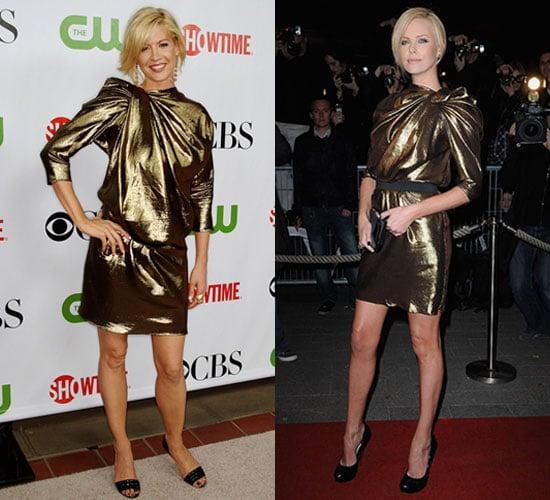 Photo of Charlize Theron and Jenna Elfman Wearing Lanvin Gold Metallic Dress