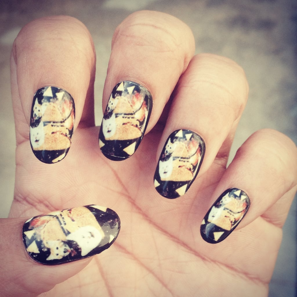 """The question isn't, """"Why are there cats in tacos flying through space on your fingers?"""" The question is, """"Why aren't there cats in tacos flying through space on everyone's fingers?"""" The interstellar kitty nail wraps are $6 for a set of 20."""
