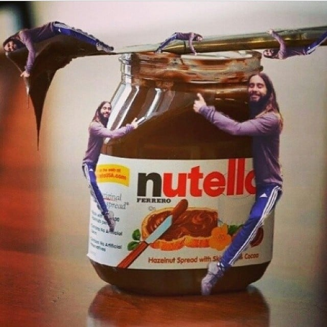 Jared Hugging a Nutella Jar