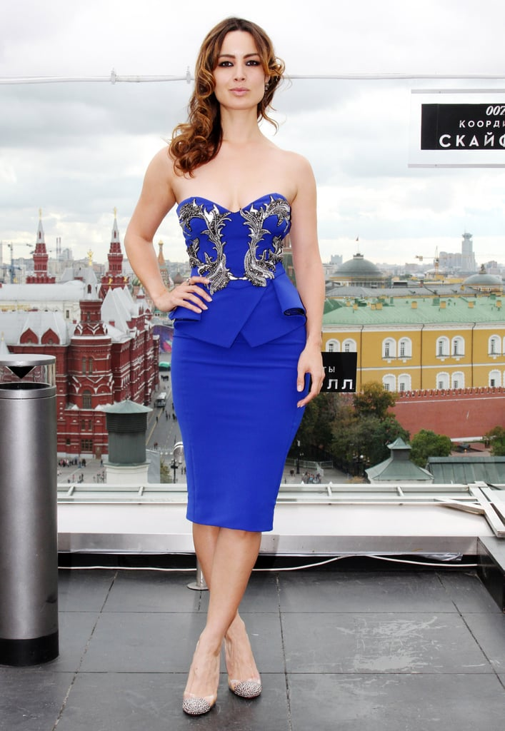 What better way to reveal you're one of the Bond girls than the way actress Bérénice Marlohe did in a stunning Julien MacDonald strapless at the Skyfall photocall in Moscow.