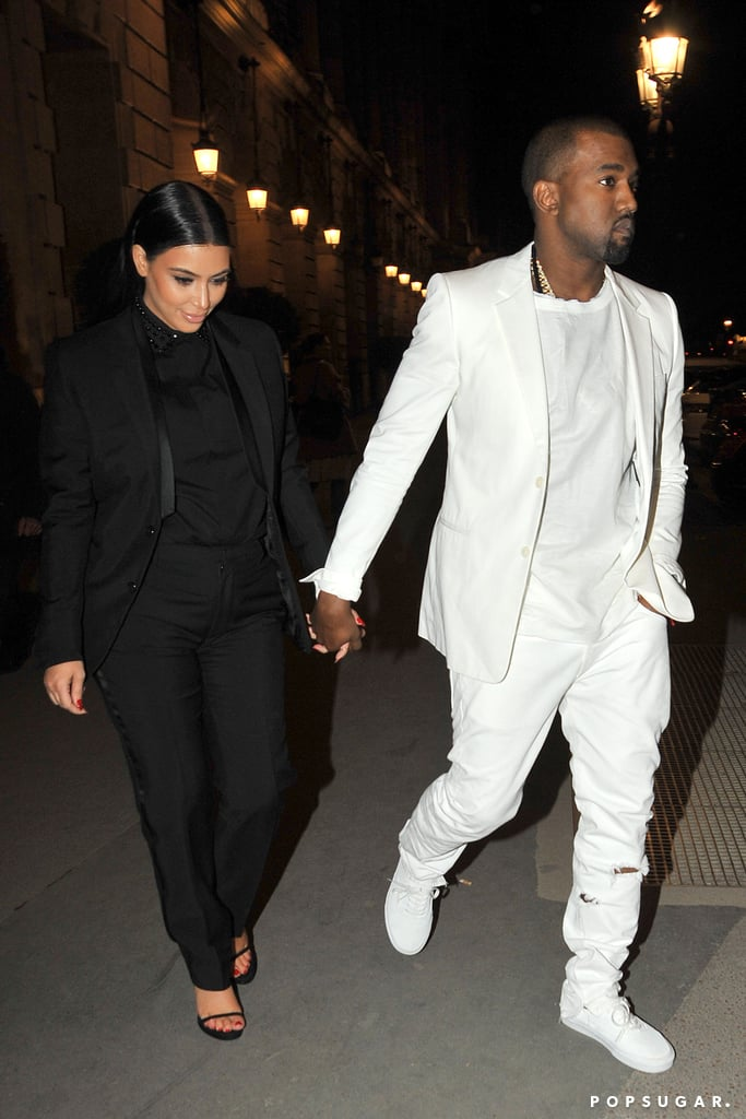 Kim Kardashian and Kanye West walked to the Givenchy fashion show in Paris in March.