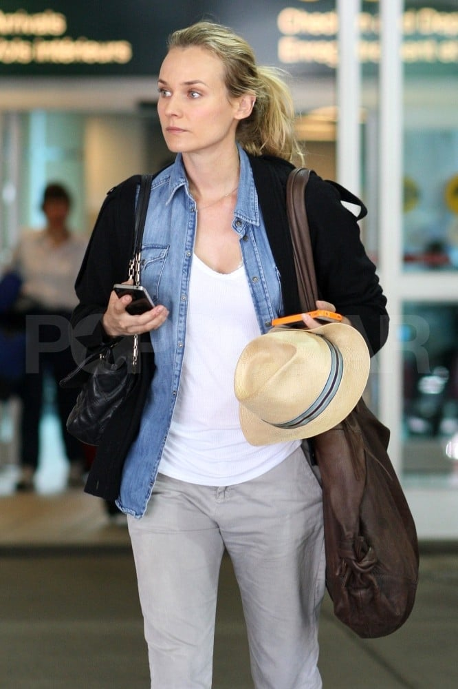 Diane Kruger arrives in Vancouver to visit with Joshua Jackson on Canadian Thanksgiving.
