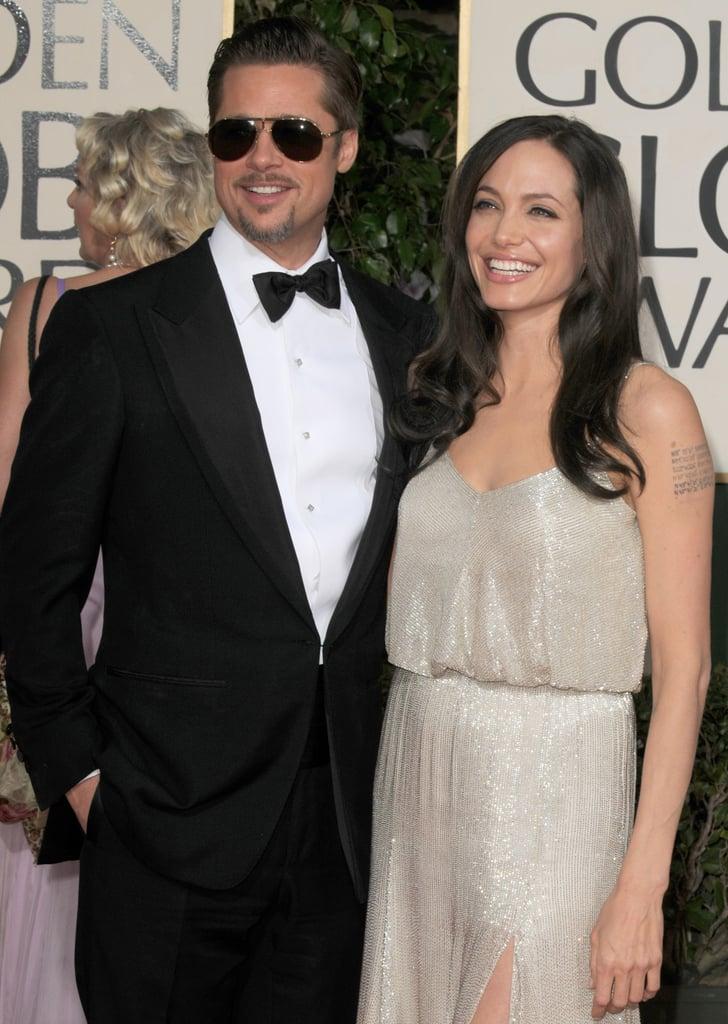 Brad Pitt wore aviator sunglasses on the red carpet during the January 2009 Golden Globes.