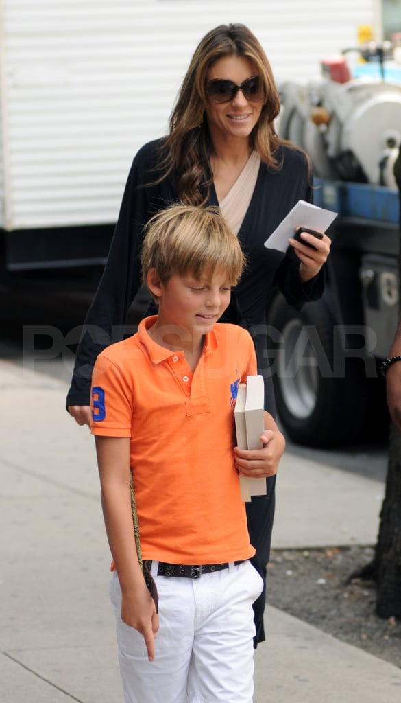 Elizabeth Hurley and son Damian in NYC.