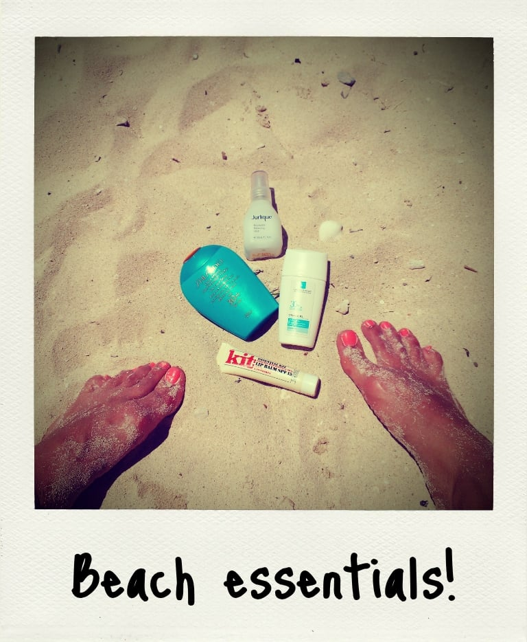 A few of my beachside essentials that got me through Fiji's intense heat — Shiseido's Ultimate Sun Protection in 30+, Jurlique Rosewater Balancing Mist, Le Roche-Posay Uvidea XL Extreme Fluid SPF 30+ and Kit Cosmetics' Essential Lip Balm with 15+.