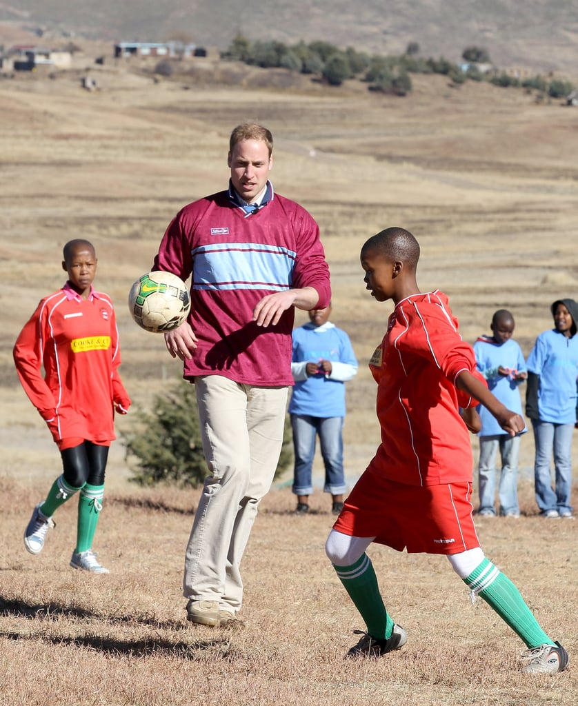 William showed off his skills in a soccer game during a June 2010 visit to a South African children's center.