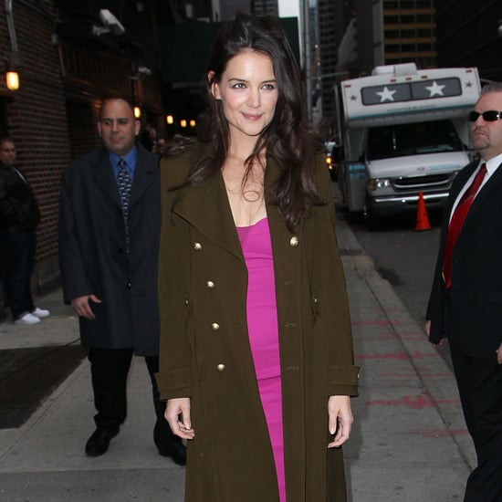 Katie Holmes Wearing Pink Dress at Late Show