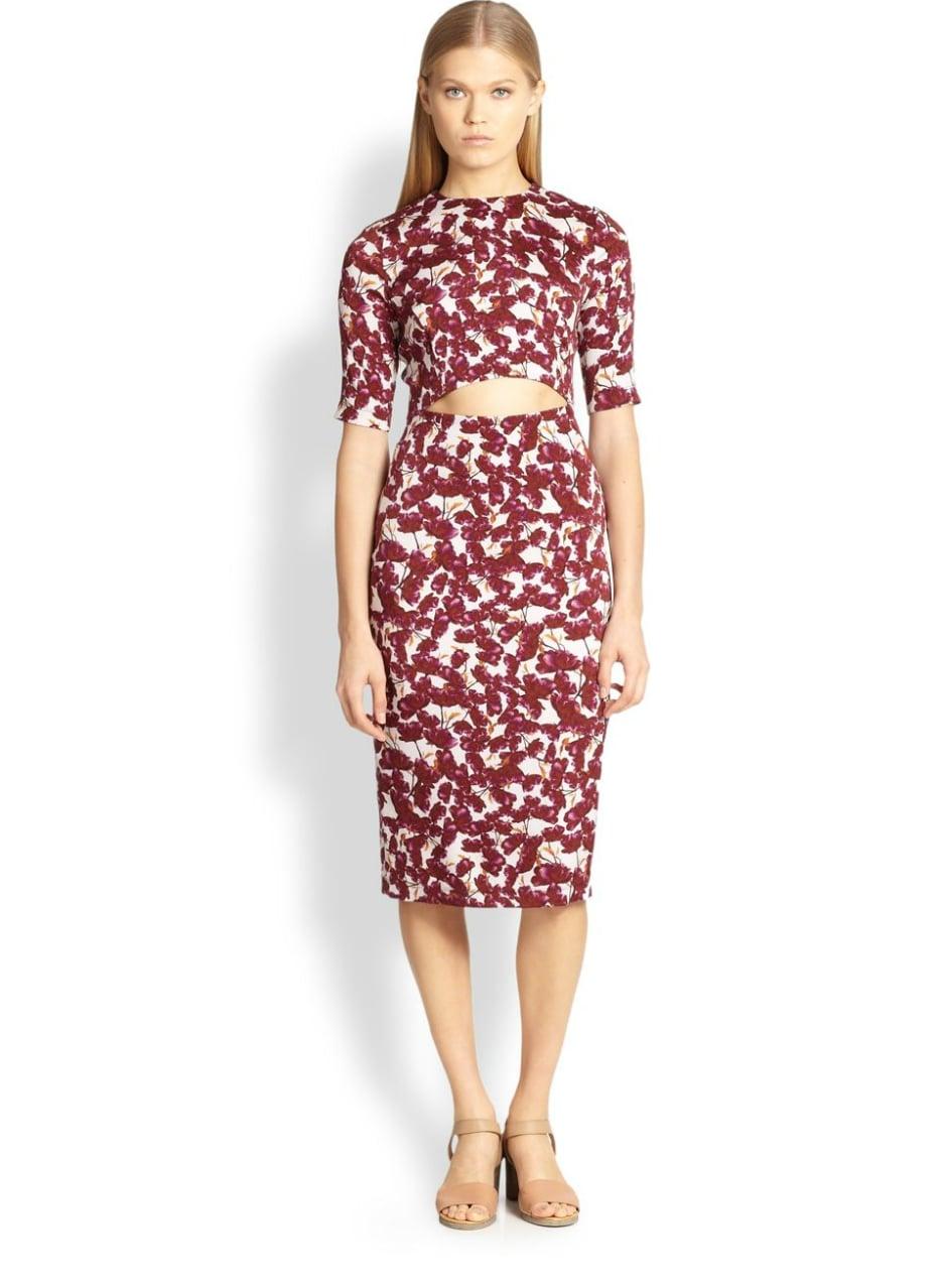 Suno Floral-Print Cutout Dress